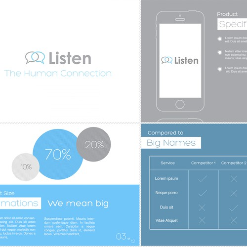 Create a sleek start-up pitch deck (Powerpoint) for a new innovative service called Listen