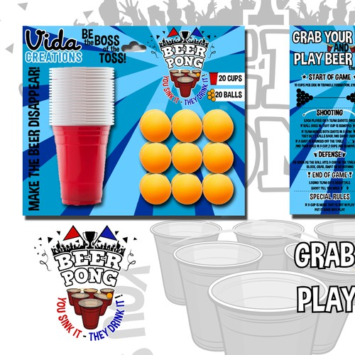 Beer pong set packaging
