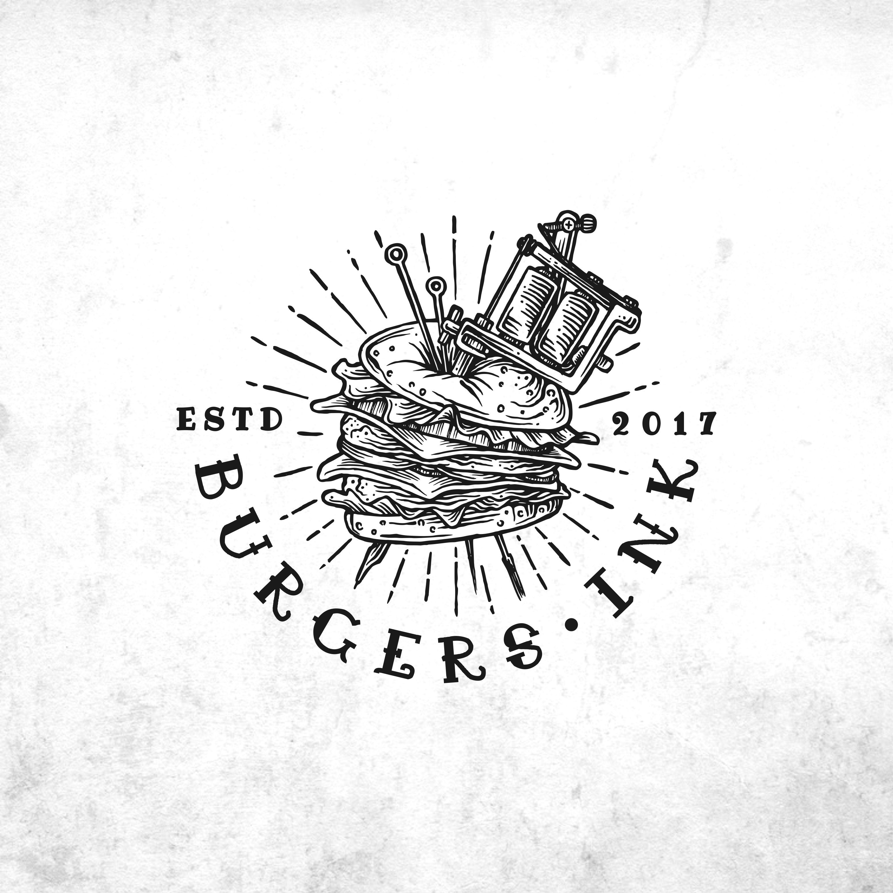 Logo for delivery only hipster burger place - tattoo art or better idea? BURGERS INK