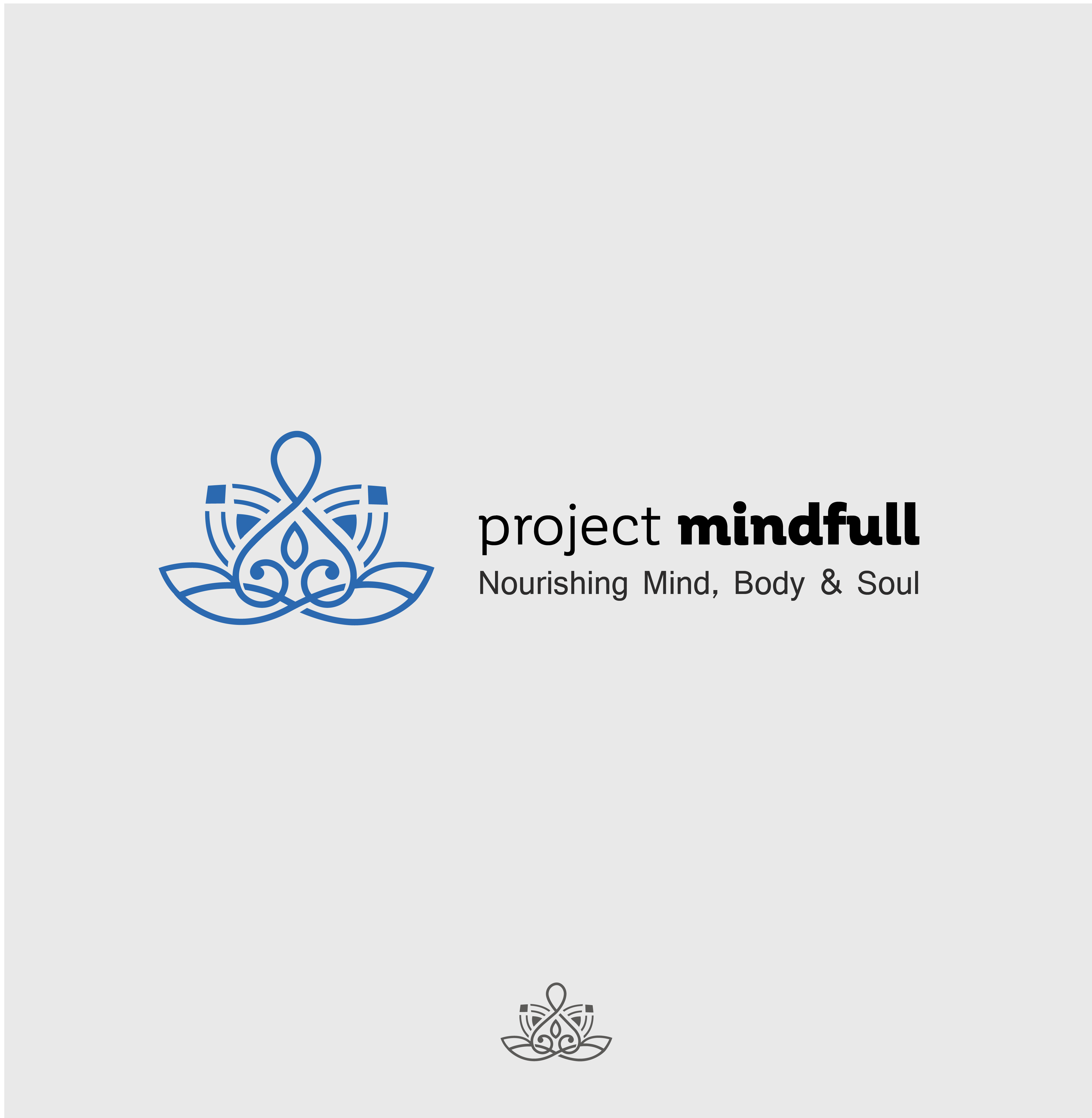 Create a logo for Project Mindfull, the premier yoga and adventure travel company.