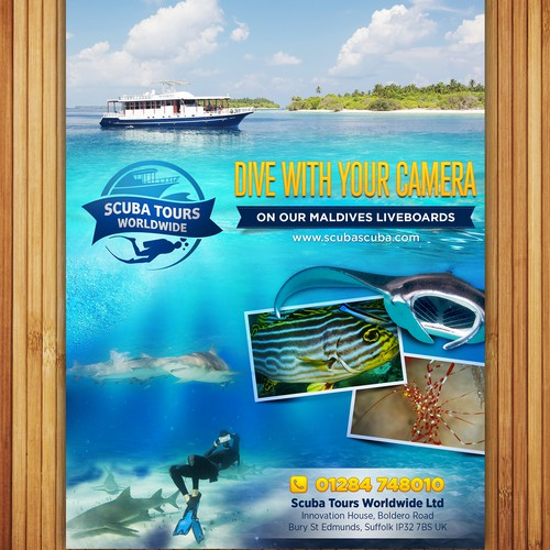 Design an A5 Print advert for a Scuba Diving Travel Company for an Underwater Photography magazine