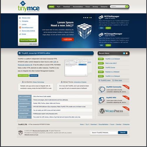 TinyMCE Website design