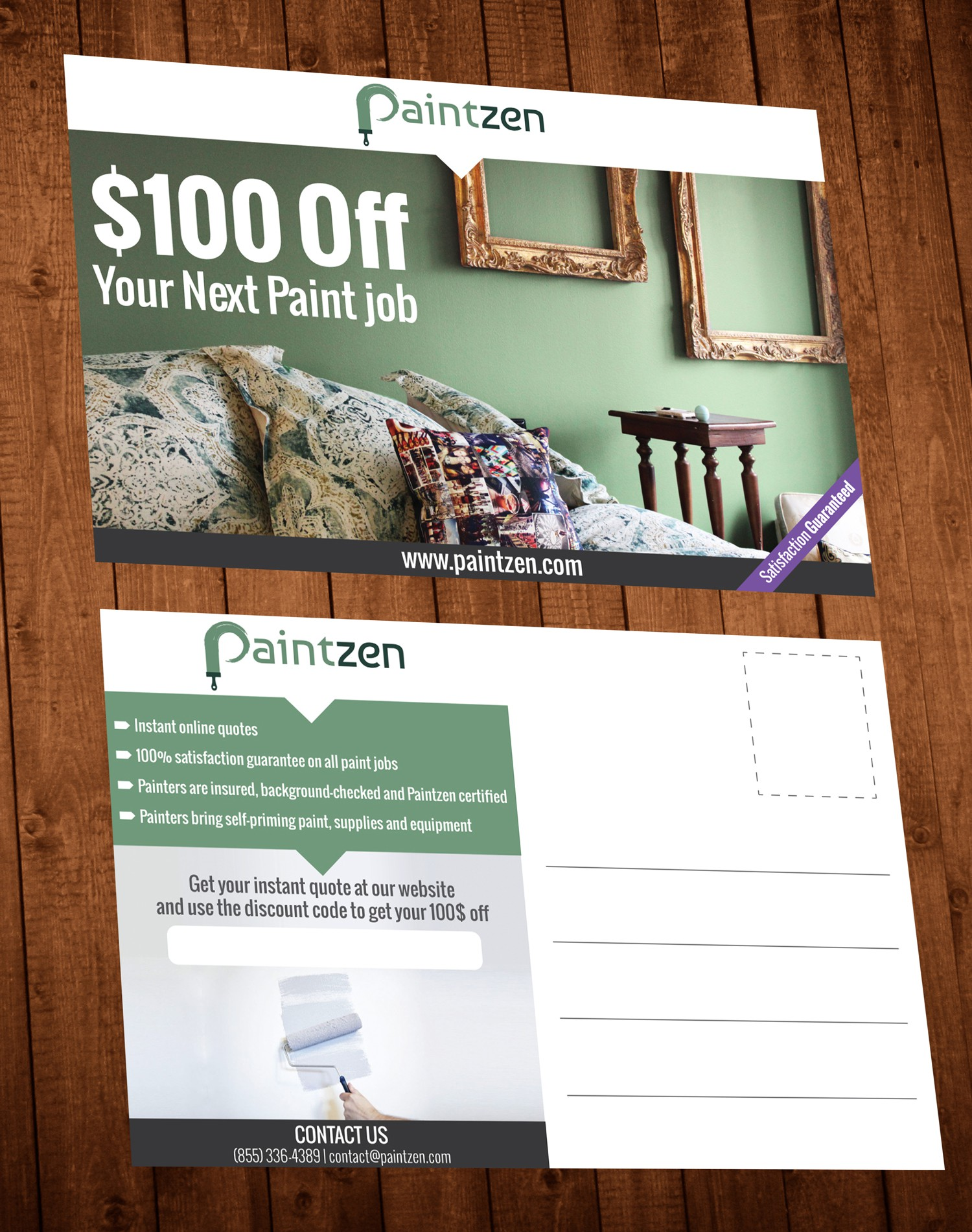 Create a captivating post card offering discounts on interior painting services for Paintzen