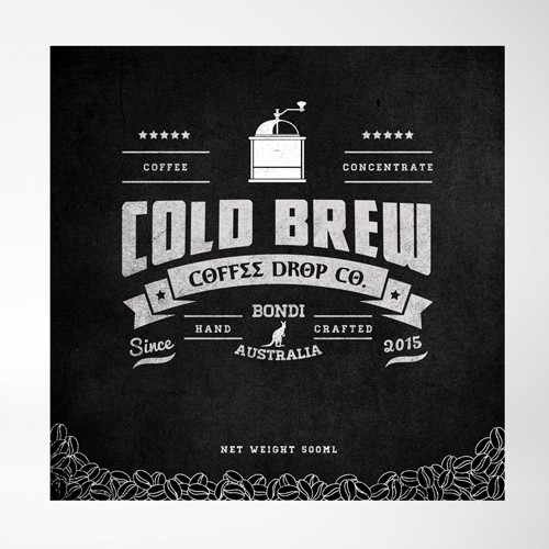 Packaging label required for Coffee Drop Co. a cold brew coffee company in Bondi