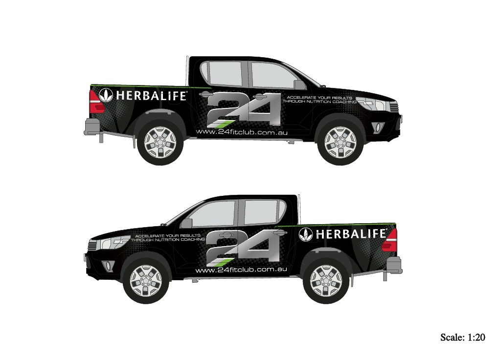 GURANTEED: Design a powerful show stopping car wrap for our Nutrition and Fitness company on a black Hilux Ute/truck
