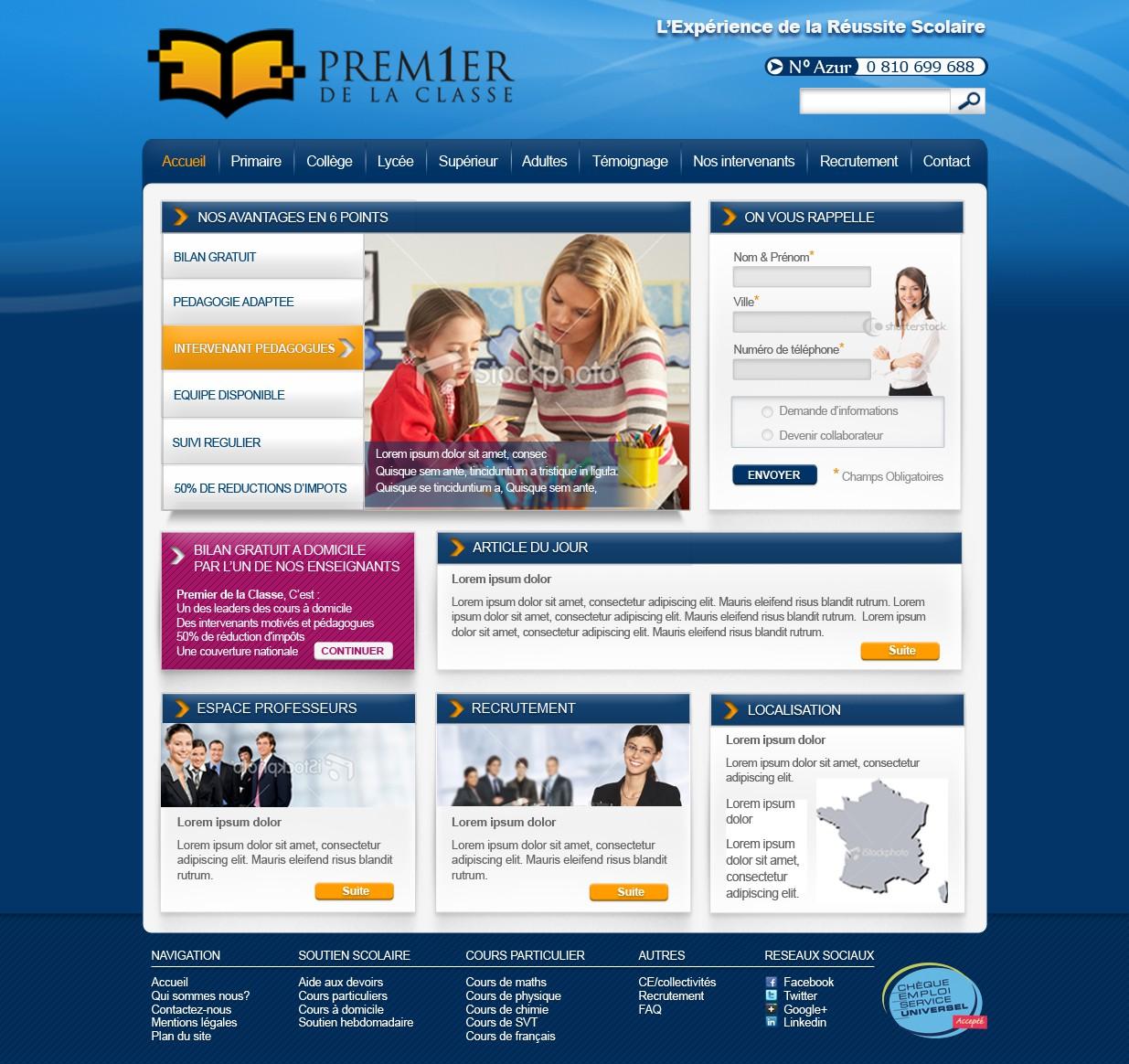 Premier de la classe needs a new website design