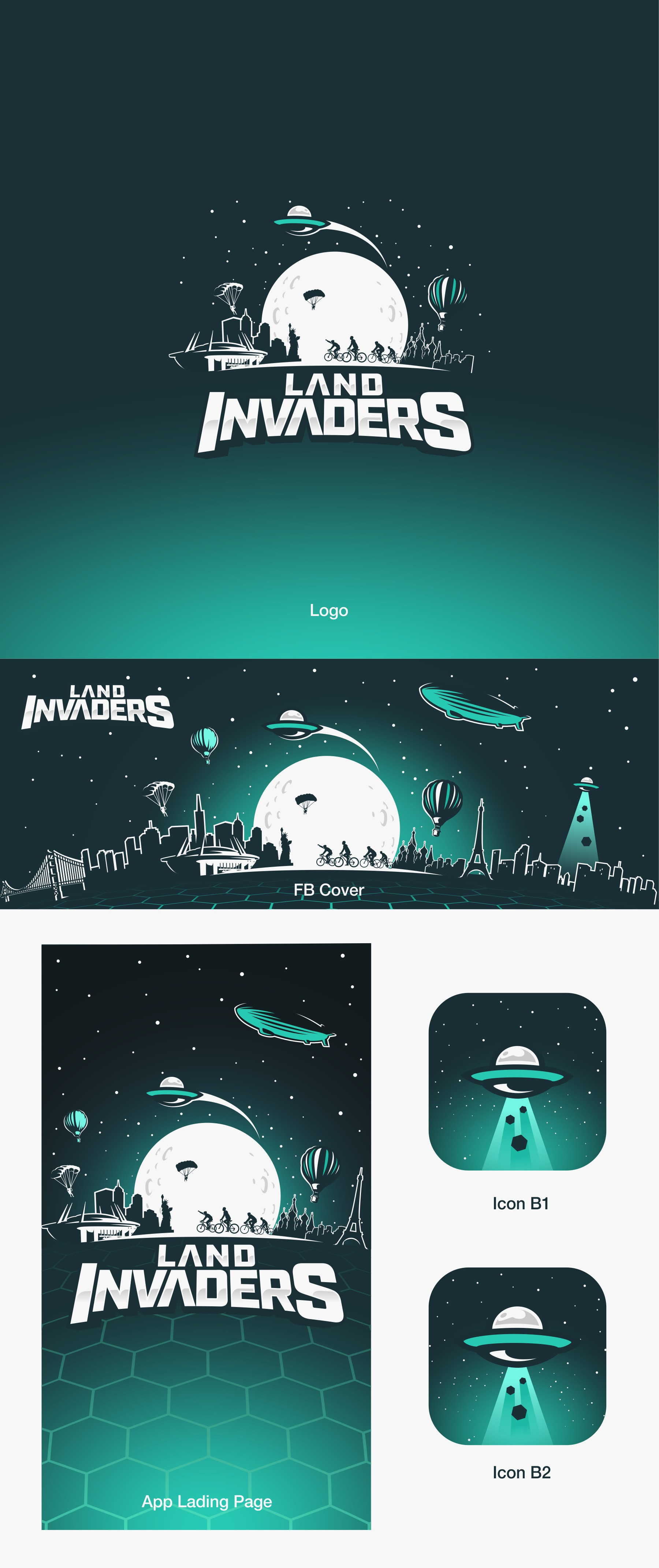 Design Awesome Land Invaders Game Logo