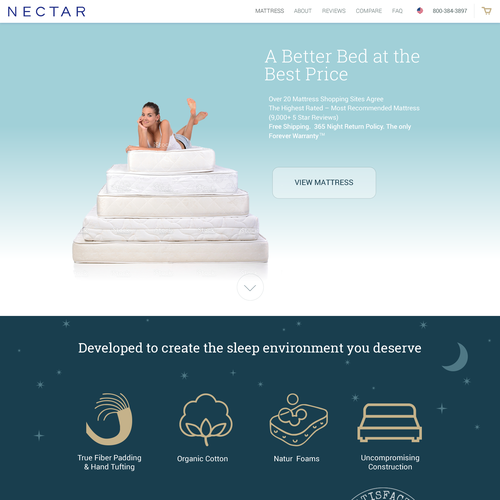 Web Design concept for bed and mattress seller