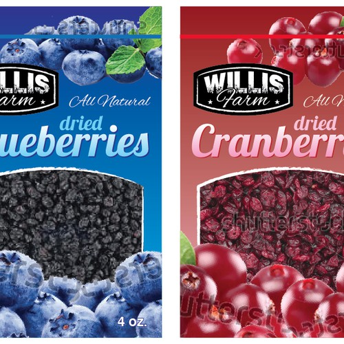 Create an attractive, appetizing design for our Dried Blueberry (Cherry, Cranberry) product line (4oz pouches)