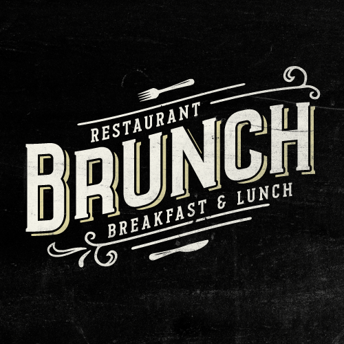 Vintage style logo for a brunch restaurant