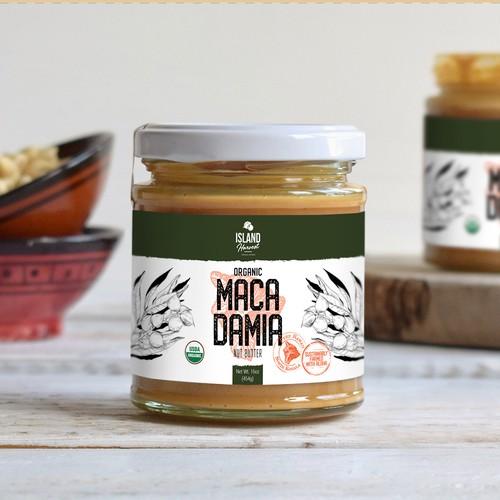 Macadamia label design