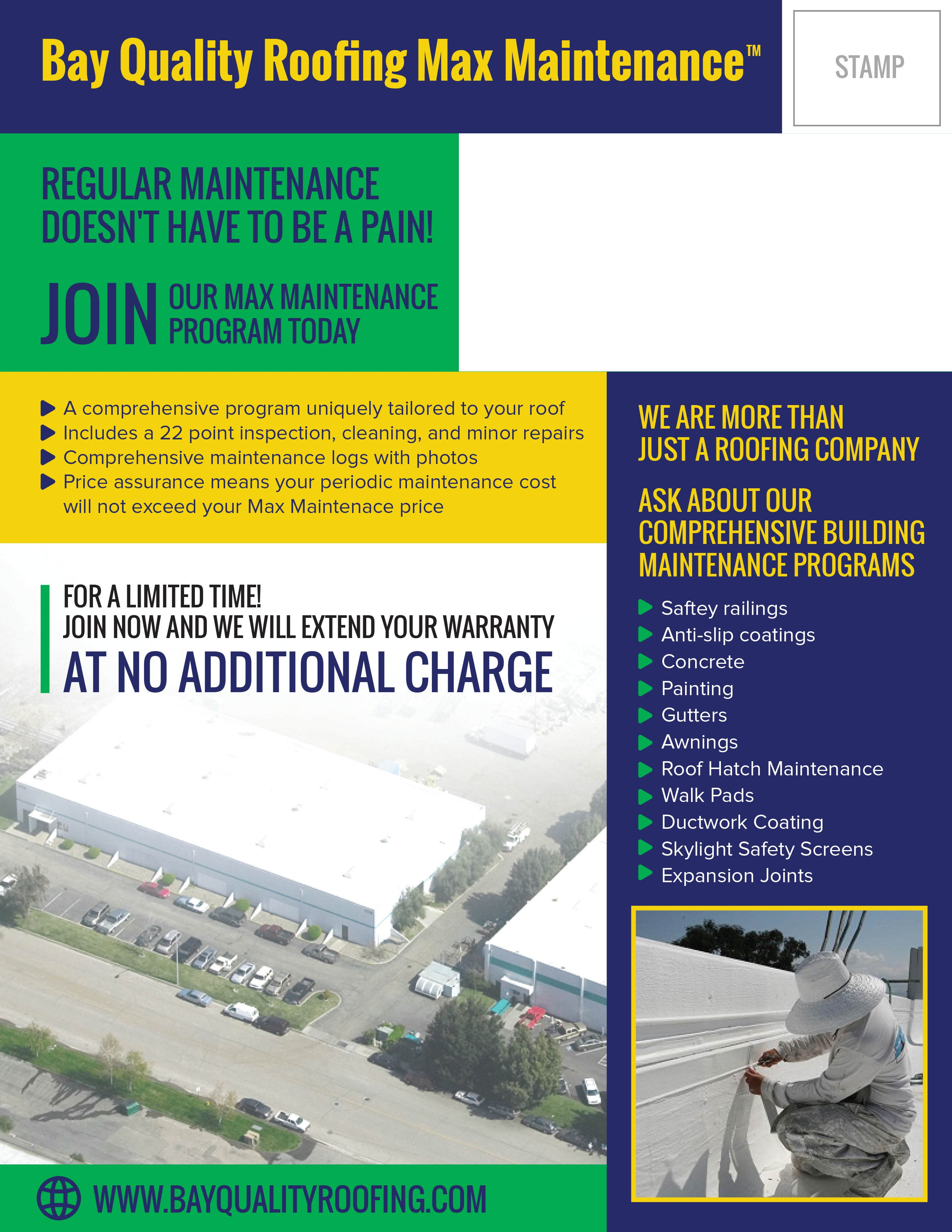 Inaugural commercial building maintenance launch flyer