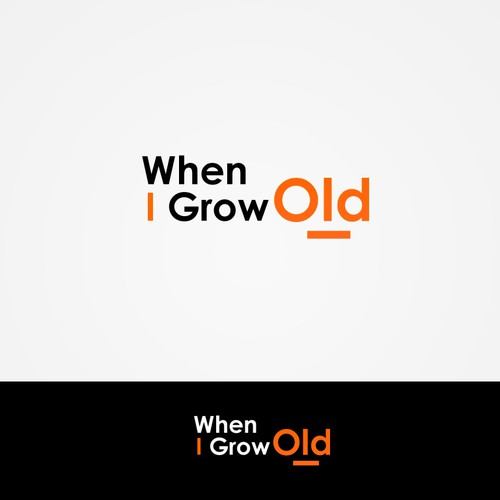 Create the next logo and business card for When I Grow Old