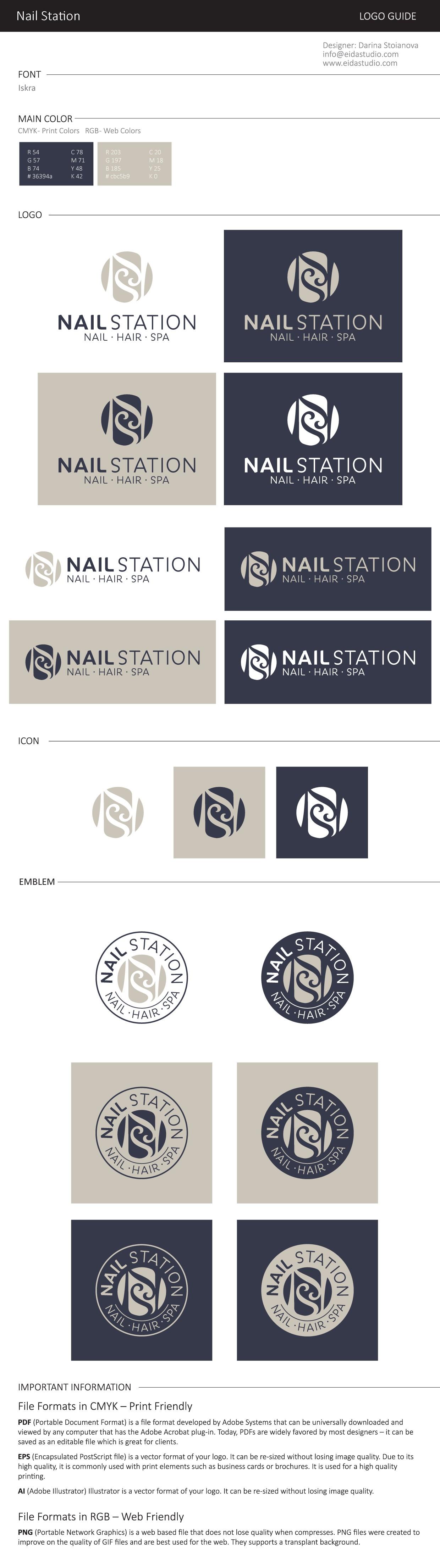 "Design luxury modern logo for my salon ""Nail Station"" ,"