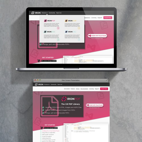 Slanted web-design for a software company