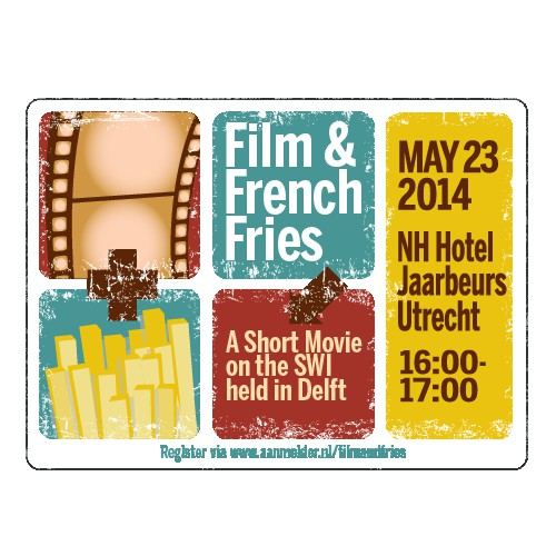 Create the invitation for the Film and Fries event.