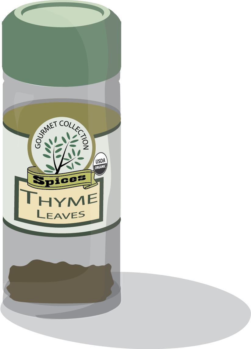 Cartoon styled bottle of Thyme spice