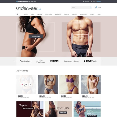 Ecommerce Design for an Undergarments Company