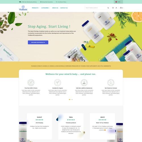 Homepage design for a manufacturer of plant-based vitamins & supplements