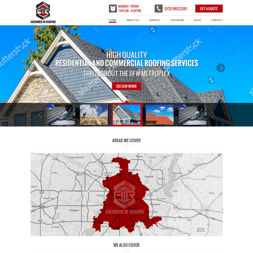 Webpage design for Roofing Services