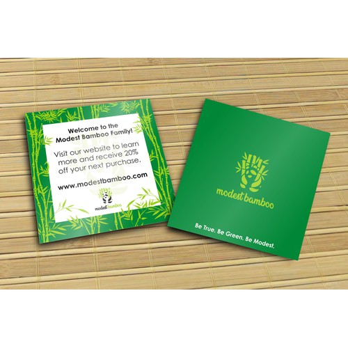 Welcome card design for Modest Bamboo Company