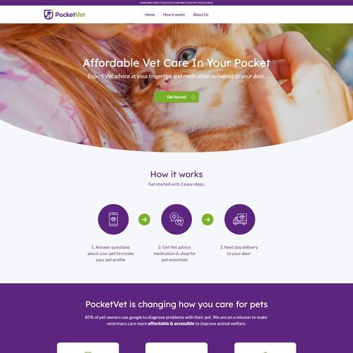 Modern web design for a brand new PocketVet web app