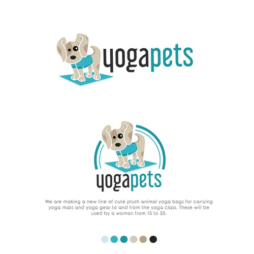 Fun, creative plush animal logo for yoga bag