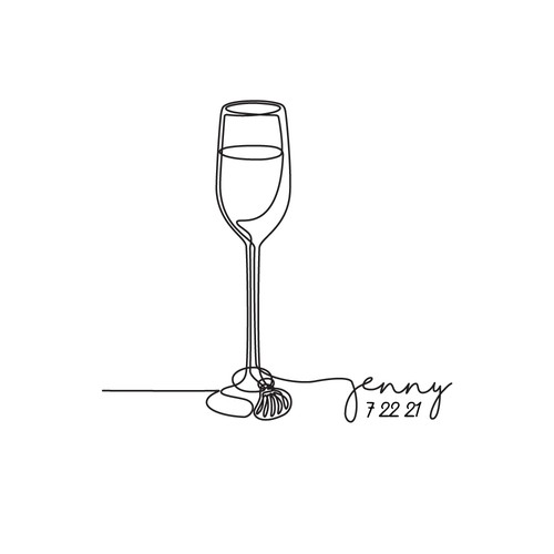 Line Drawing Tattoo of Champagne Flute