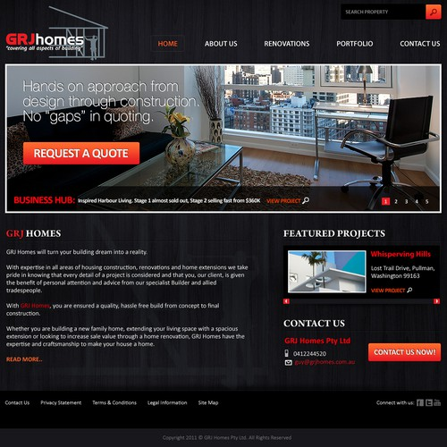 Create the next website design for GRJ Homes