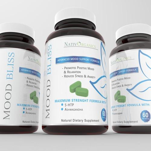 MoodBliss Supplement Label Design