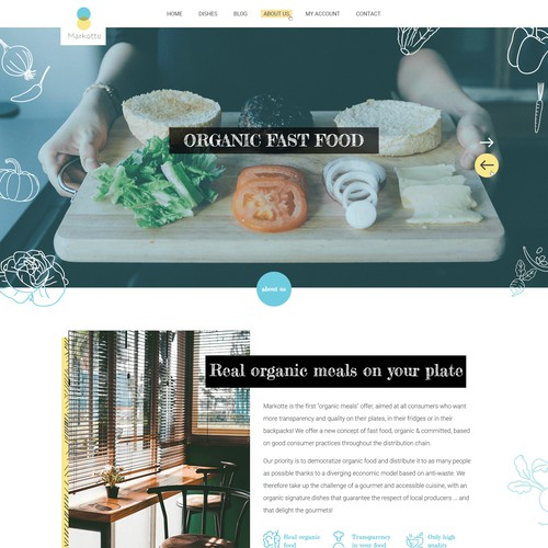 A home page for an organic food market