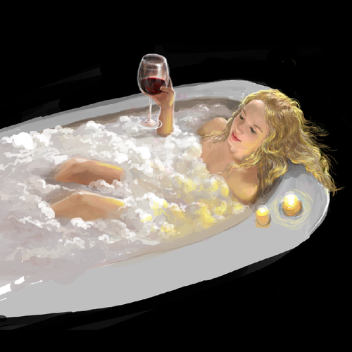 girl in the bathtub for wine company