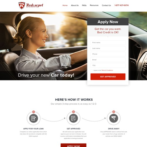Website Design - Lead Generation Homepage For Canadian Auto Loan Website