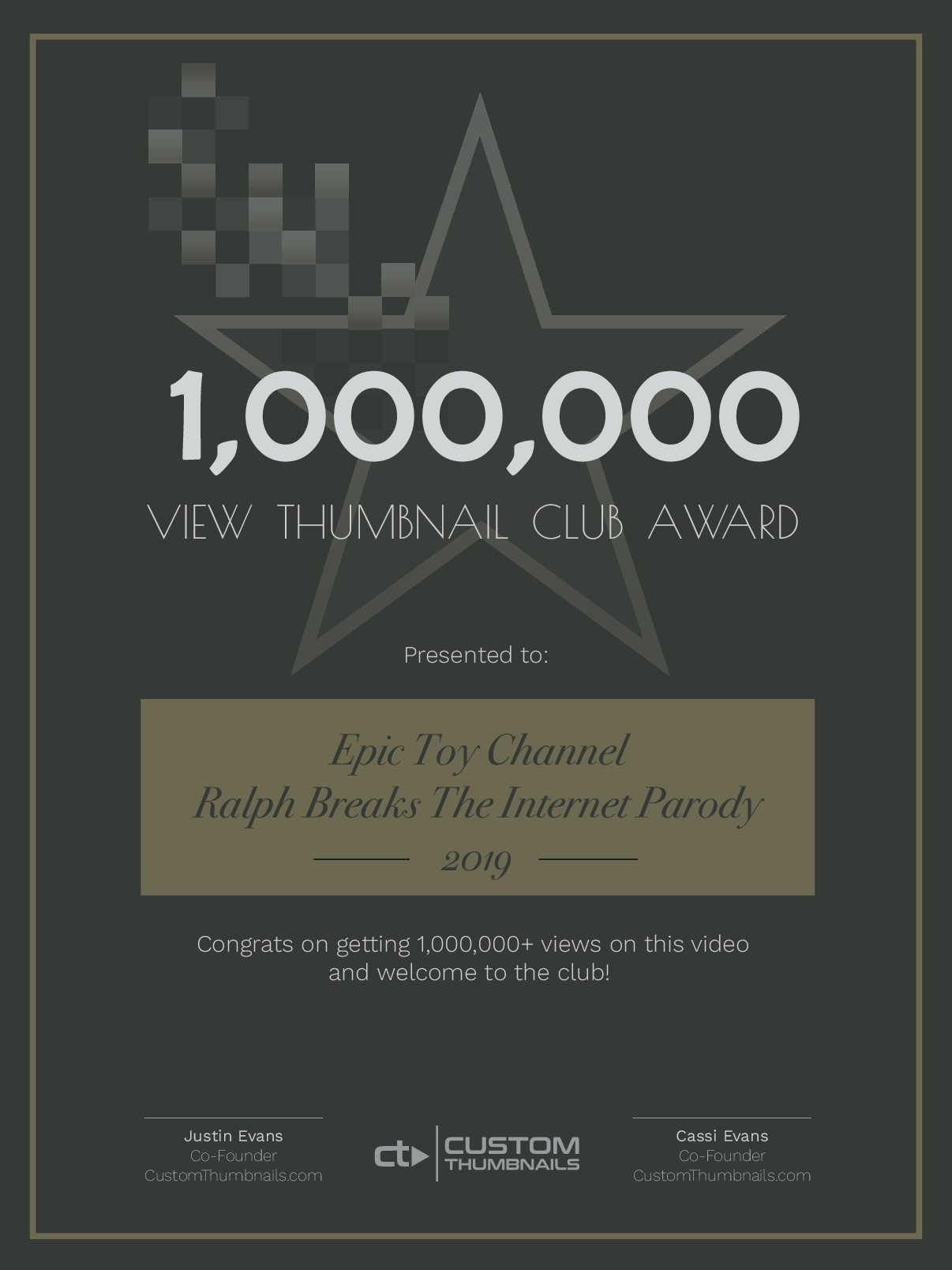 1,000,000 view thumbnail club award