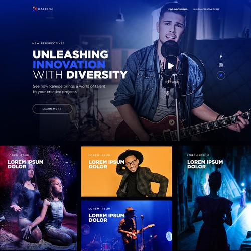 Web design for a website connecting diverse creative artists with media clients