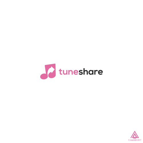 Negative Space of Music Note and Share icon