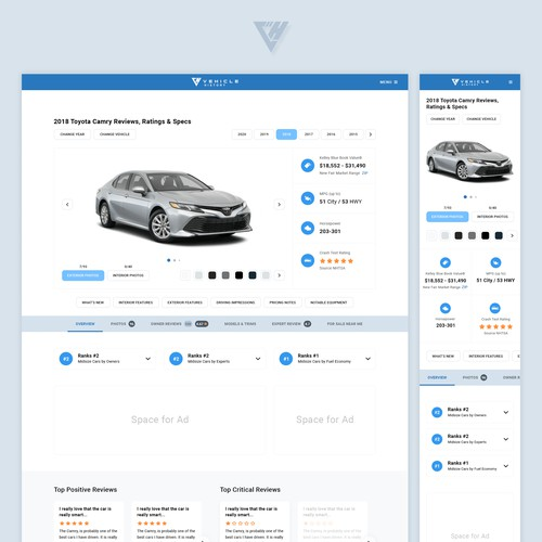 UX focused Responsive Web Page Design for Vehicle History