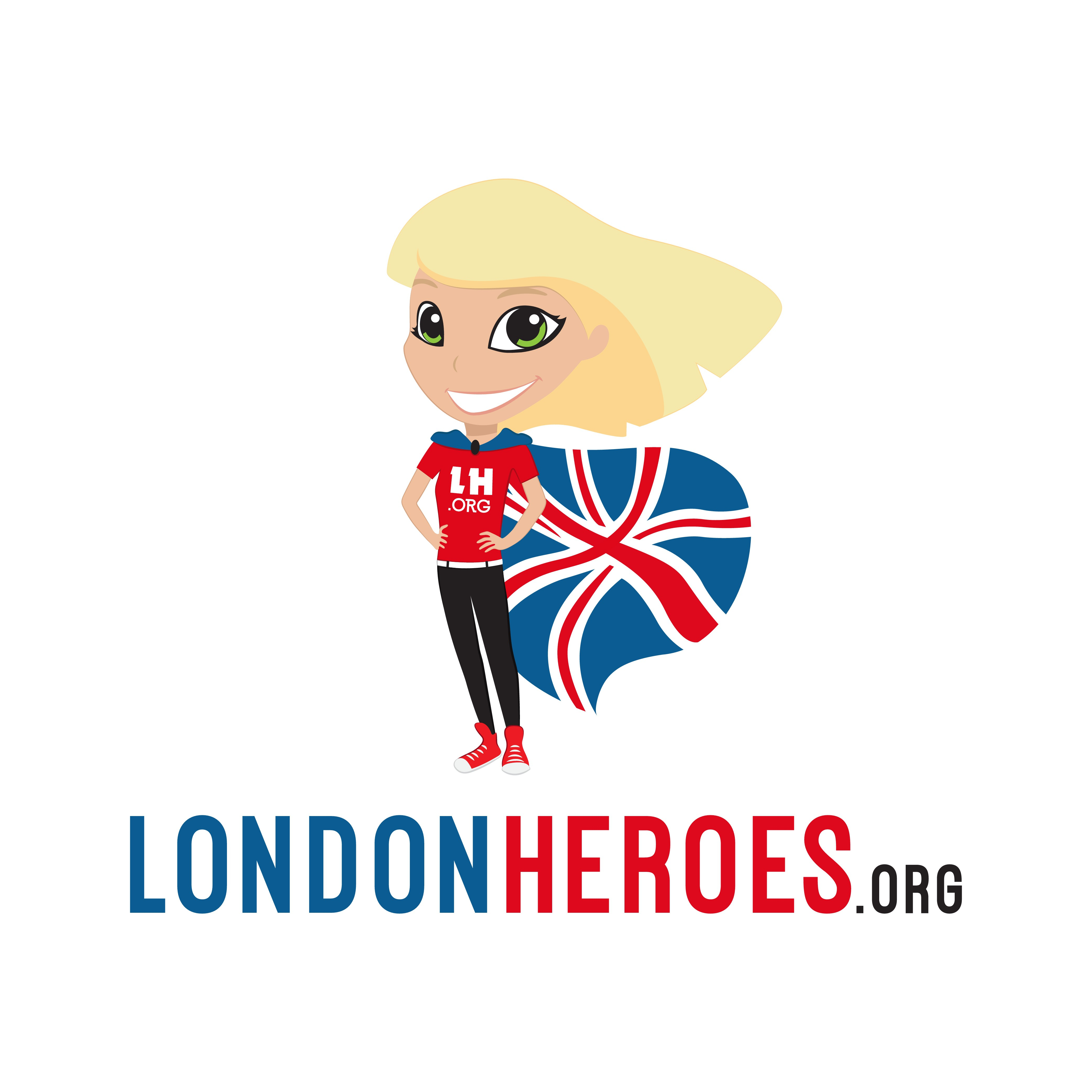 Create the character of a London hero as a logo for londonheroes.org