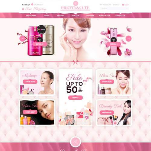Homepage Design for Ecommerce Business - Online Beauty Retailer