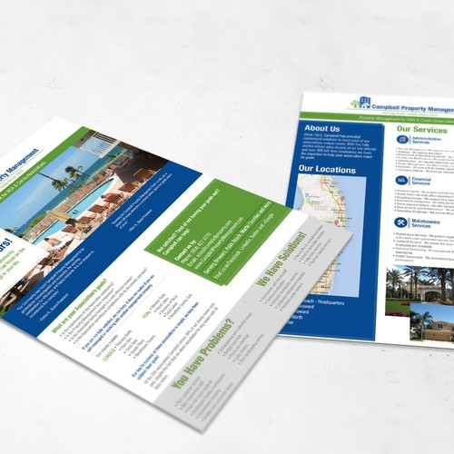 Create a double-sided overview of South Florida Property Management Company's services