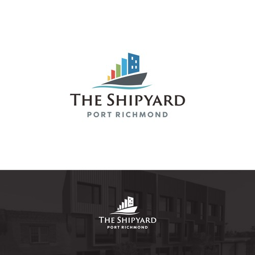 Logo for residental real estate on a shipyard