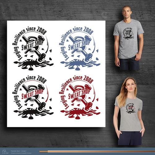 Sweat Shop T-Shirt design with splatted coronavirus