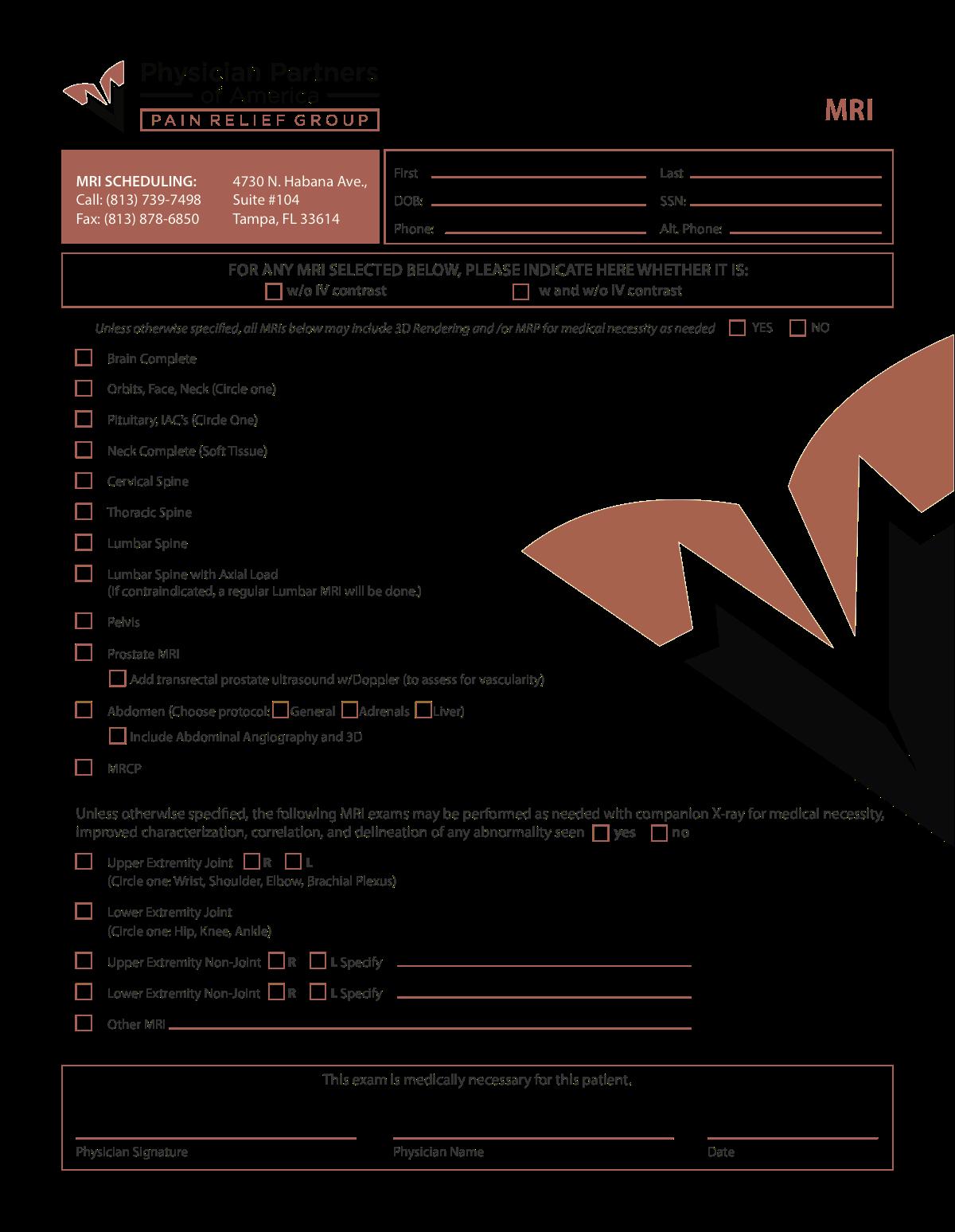 PPOA MRI - Order Form
