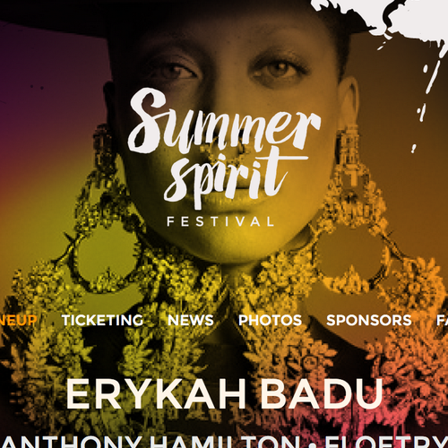 Summer Spirit Festival Logo/Website - Headliners Erykah Badu & Anthony Hamilton