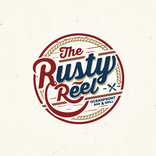 Create a logo for The Rusty Reel Oceanfront Bar & Grill