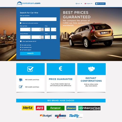 Create a high converting car rental landing page