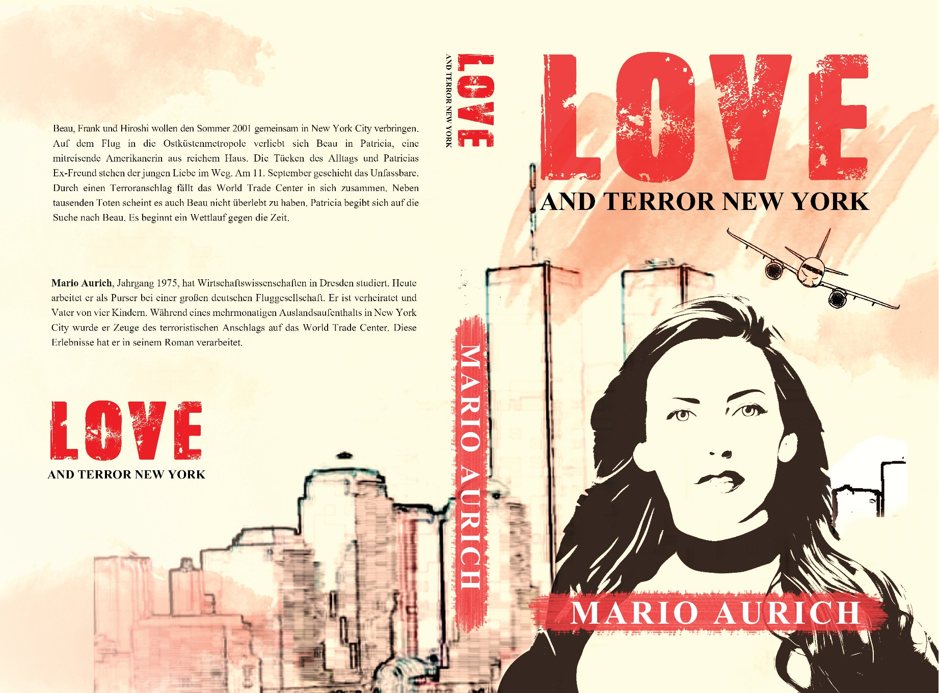 """Create a book cover for a love story: """"LOVE AND TERROR NEW YORK""""."""