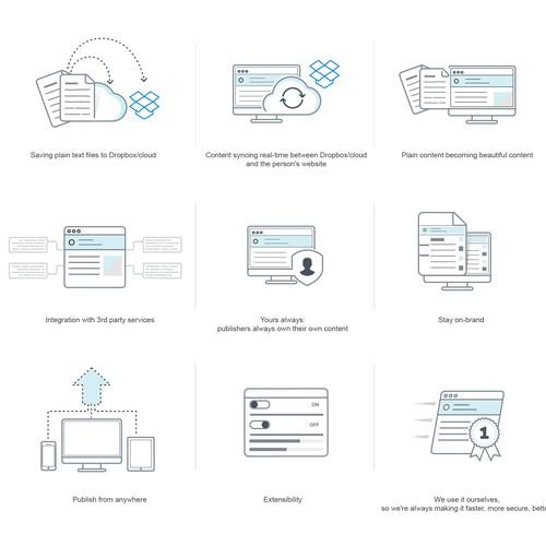 Create a series of minimalist illustrations