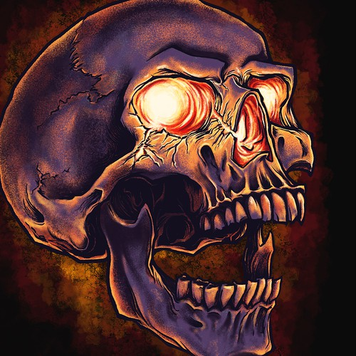 Broken Eye Socket Skull _T-shirt Design