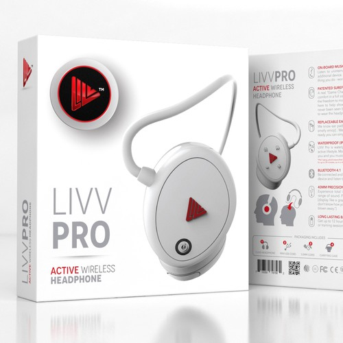 Clean engaging package design for LIVV Headphones
